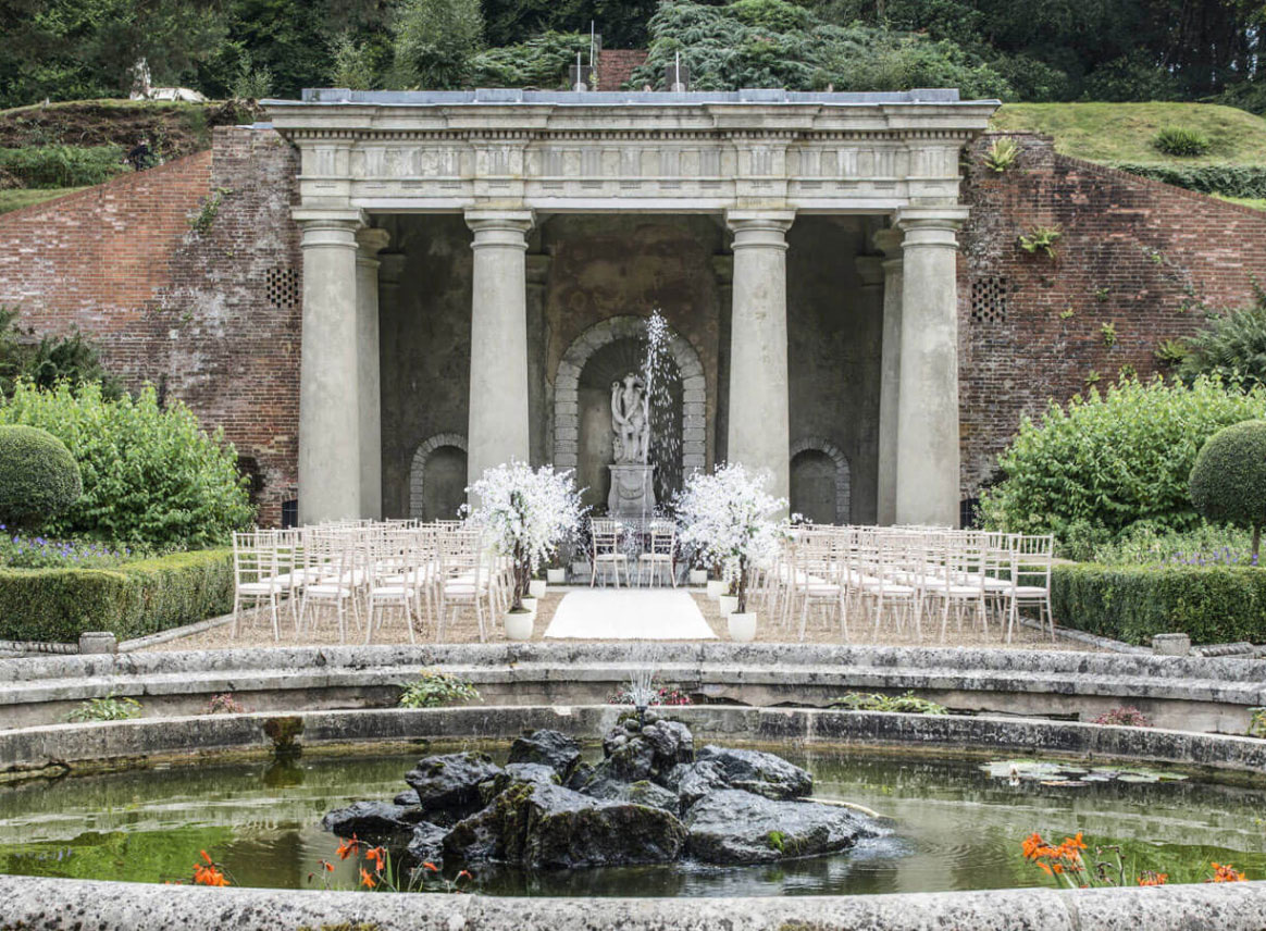The Estate outdoor weddings and fountain