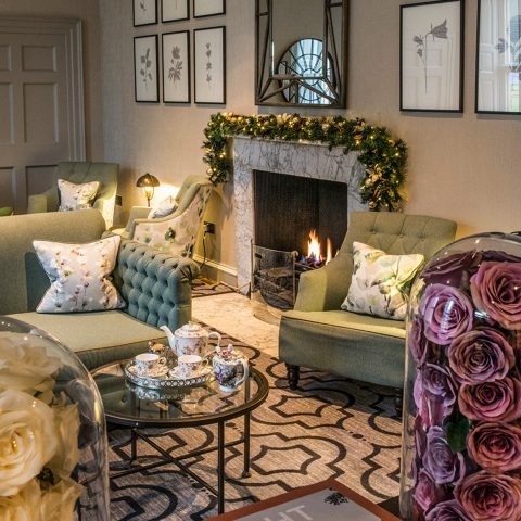 The morning room with festive garland
