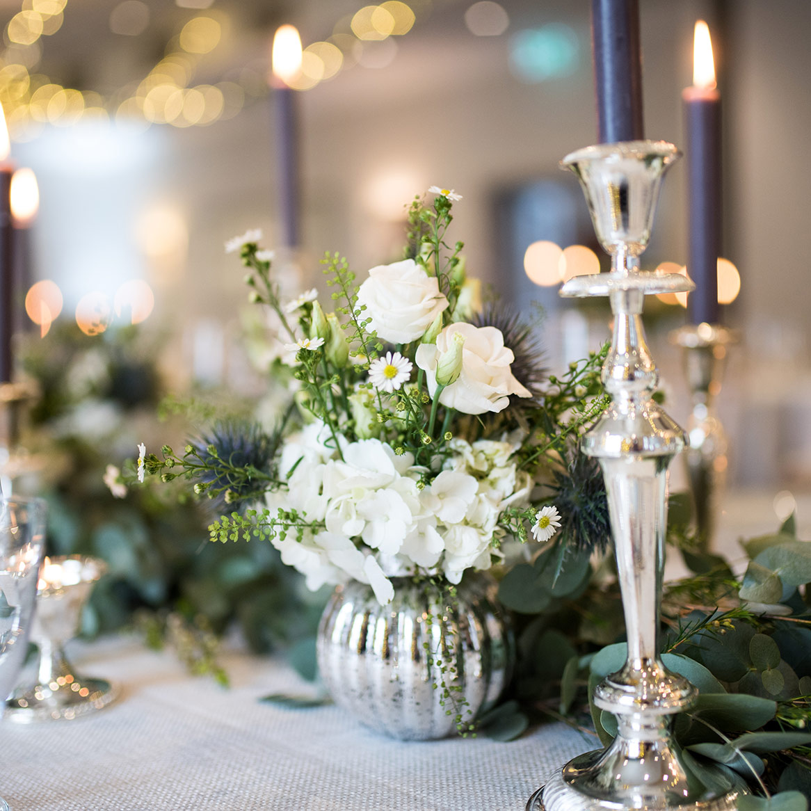 Wedding table decoration and romantic candles