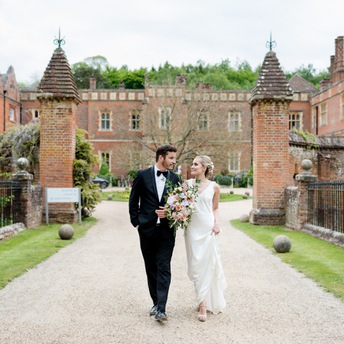Bride and groom at Wotton House
