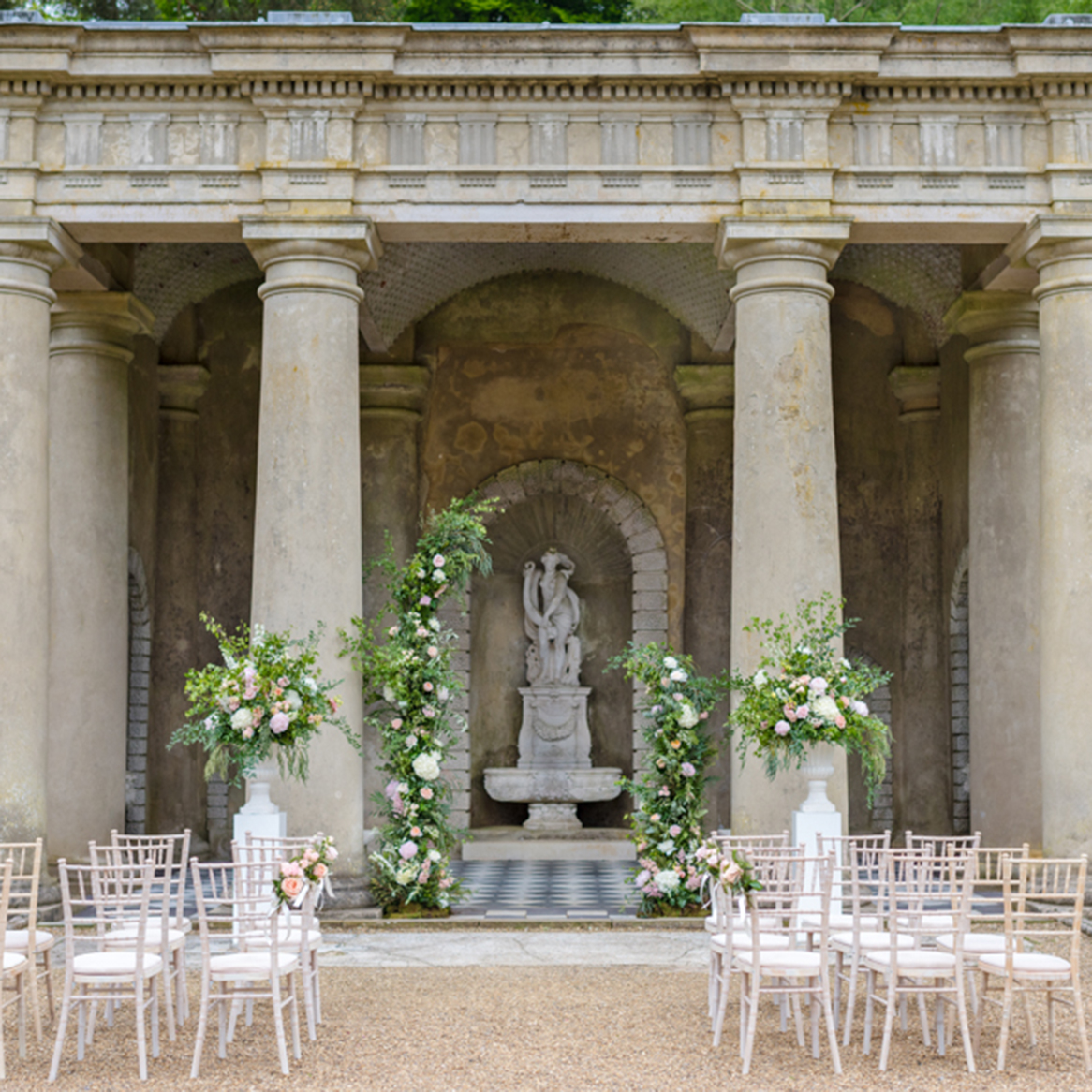 Outdoor wedding ceremony at Wotton House