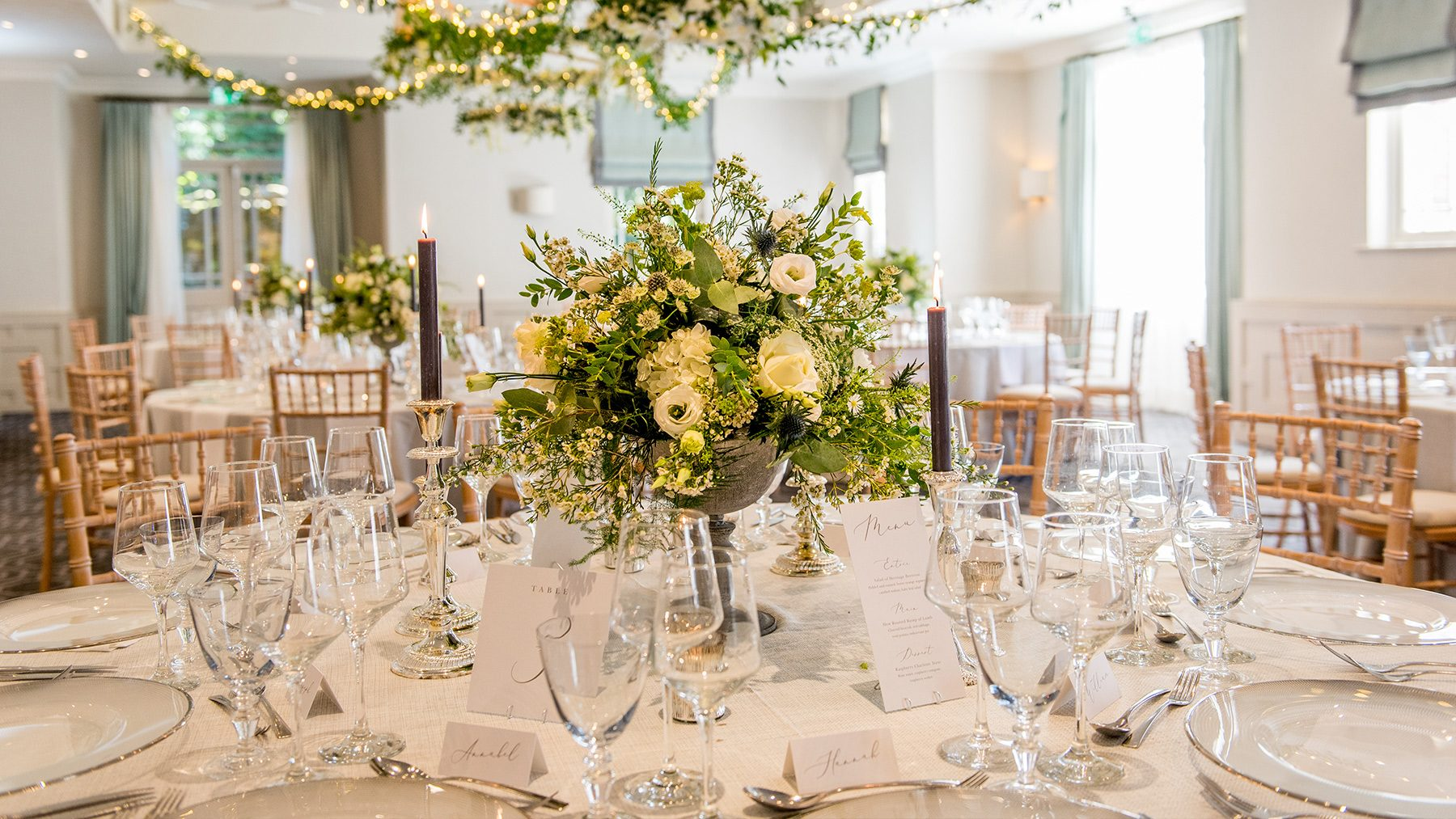 The Evelyn Suite set for a wedding breakfast